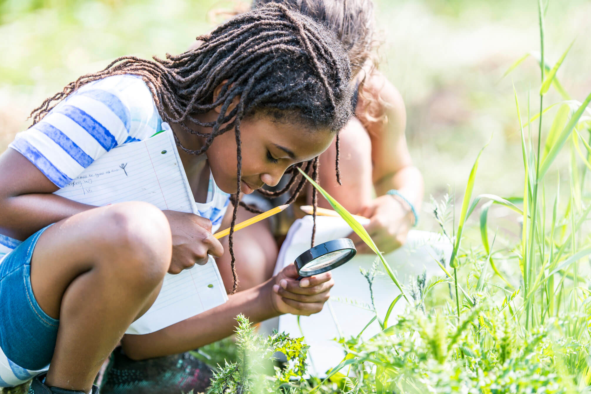 group of elementary school children are outdoors on a sunny day. They are wearing casual clothing. They are learning about nature in science class. A girl of African descent is using a magnifying glass to look for bugs.